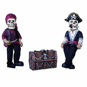 Pirate Skeleton Shelf Sitter Set w/ Treasure Chest